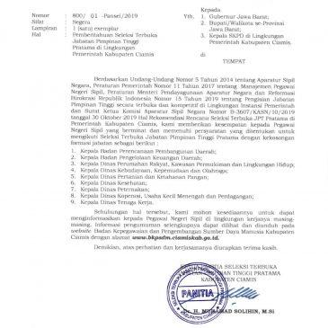 Pemberitahuan Seleksi Terbuka Jabatan Pimpinan Tinggi Pratama Pemerintah Kabupaten Ciamis