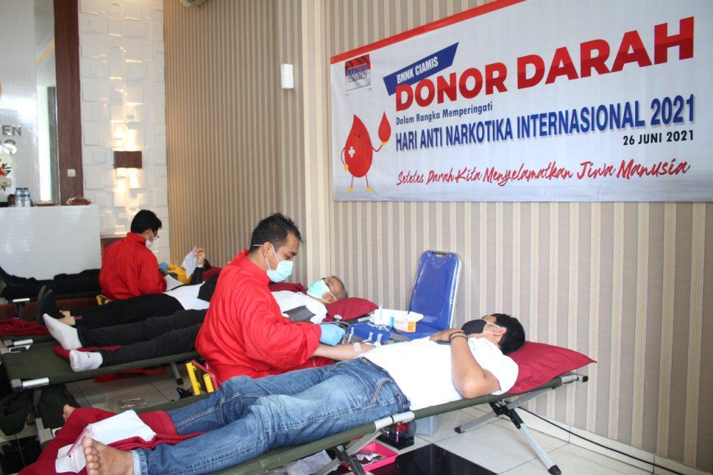Peringati HANI 2021, BNNK Ciamis Gelar Aksi Donor Darah