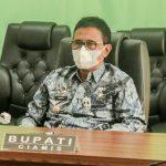 Bupati Herdiat Ikuti Launching Pelayanan Perizinan Berusaha Terintegrasi Secara Elektronik Bersama Presiden Jokowi Secara Virtual.