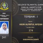 Kabupaten Ciamis Raih Juara 1 dan 3 lomba MHQ Golongan 1 Juz dan Tilawah tingkat Provinsi Jawa Barat